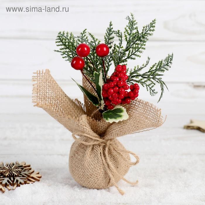 НГ Ветка 17см Зимнее очарование ягодки листья в мешочке