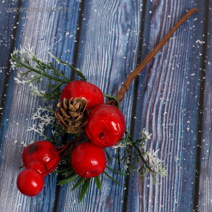 НГ Ветка 18см Зимнее очарование шишка ягоды зелень