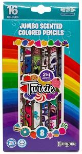 Карандаши цветные 16 цв Twixie ароматизированные двусторон.