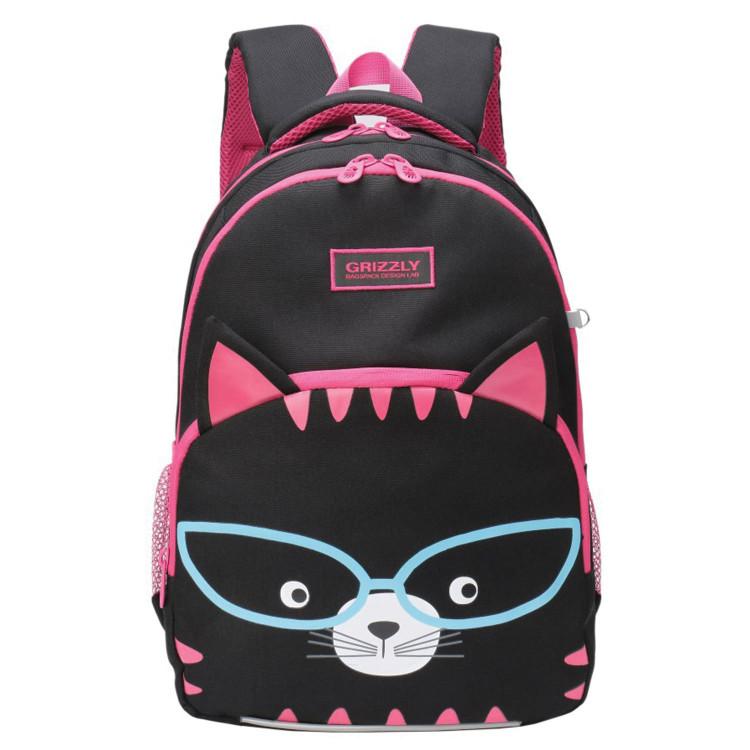 Рюкзак эргономич. Grizzly Котик черный с темно-розовым