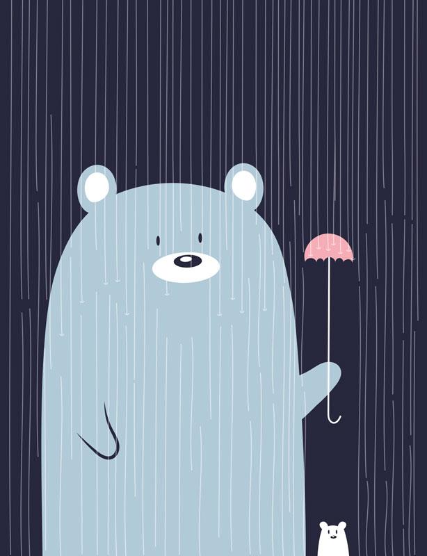 Зап. книжка А6 96л точка Медведь с зонтиком мат лам, резинка