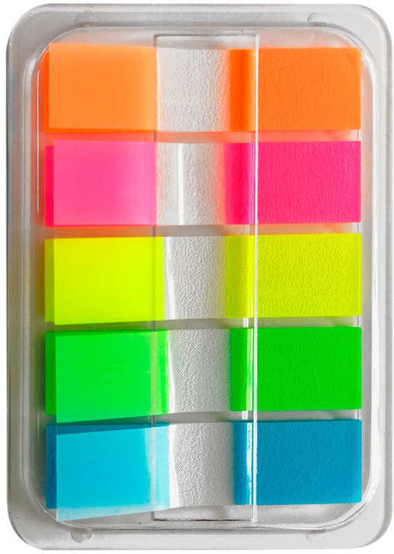 Блок липкий Закладки-разделители пласт 5цв 20л неон в диспенсере
