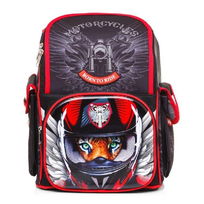Распродажа Ранец Hatber Moto-Beast черный с красным