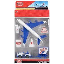 Набор Аэропорт: самолет 14см, машинка, знаки, аксесс.