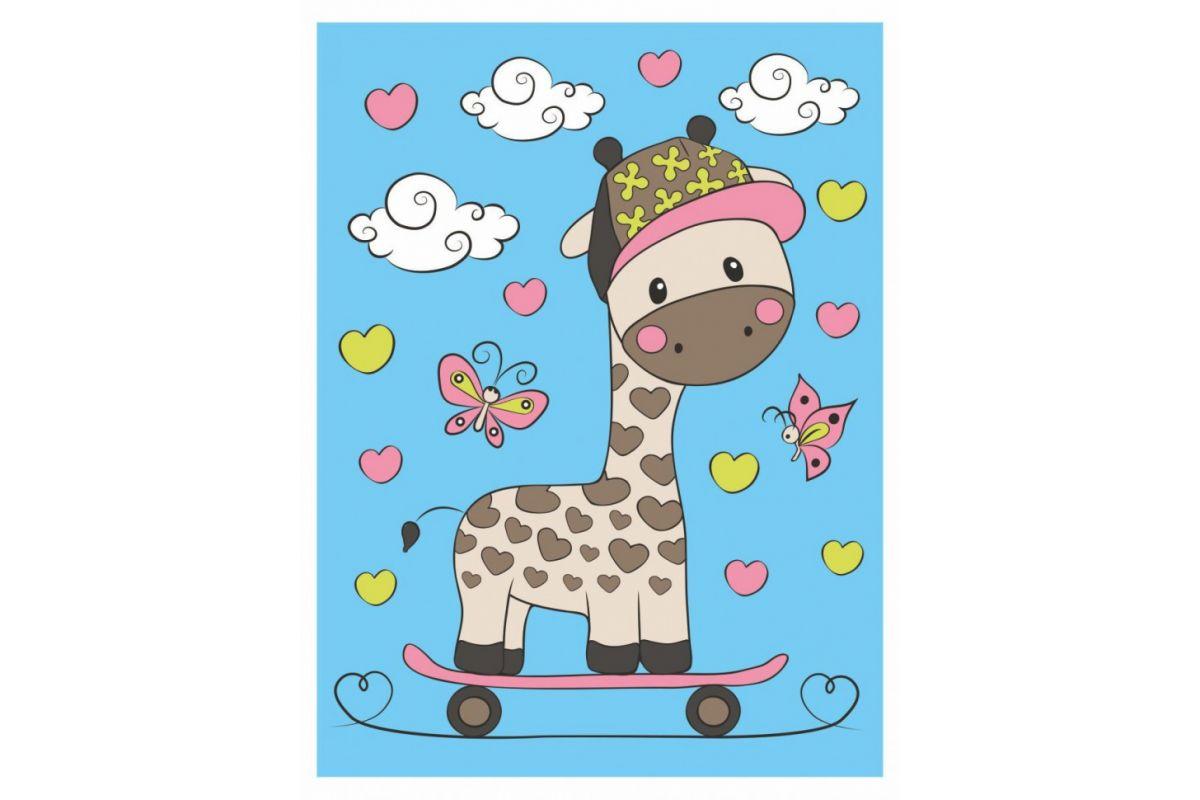 Творч Рисуем на холсте 15*20 Жираф на скейтборде