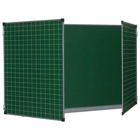Доска магнитно-меловая 1000*1500/3000 зеленая алюм.рама 3эл линия/клетка