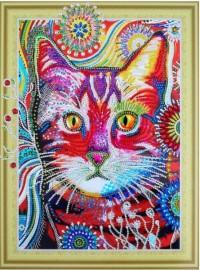 Творч Алмазная картина 30*40 Кот в одуванчиках с фигурными стразами