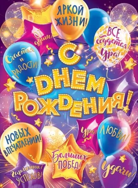 Плакат 84.441 С днем рождения! А2 вертик шары с пожеланиями