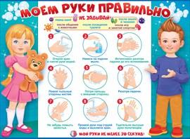 Плакат Моем руки правильно А2 горизонт мальчик и девочка