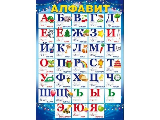 Плакат Алфавит А2 вертик гирлянды световые