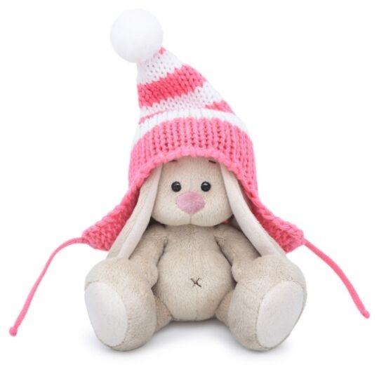 Мягконабивная BUDI BASA Зайка Ми в полосатой розовой шапке 15 см