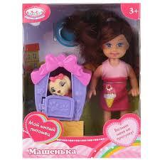 Кукла Карапуз Машенька 12см, будка, питомец, аксесс