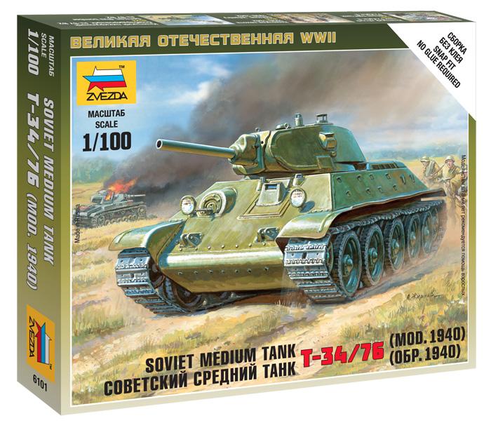 Сборная модель Советский средн танк Т-34-76 (обр1940г) (мод 1940) 1/100