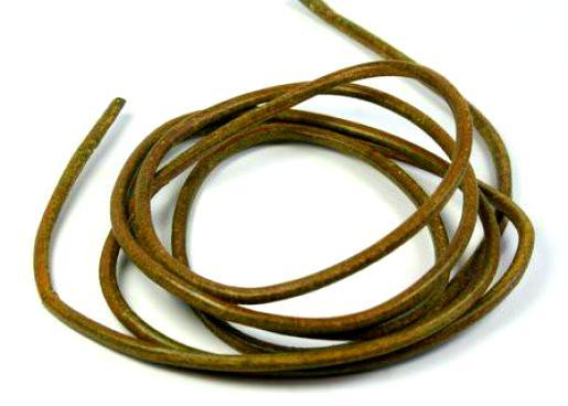 Творч Шнур кожаный 1м, D=2 мм оливковый