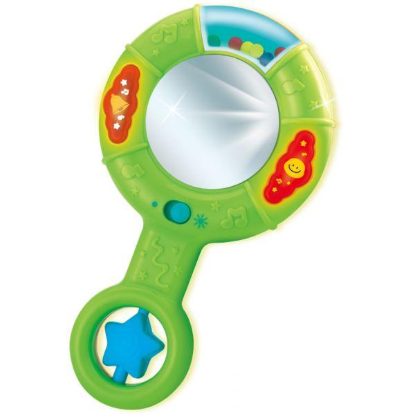 АКЦИЯ19 Игрушка - погремушка на батар. с зеркальцем свет, звук