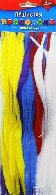 Проволока пушистая 30см 40шт перья одноцветная