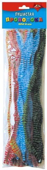 Проволока пушистая 30см 40шт перья двухцветная
