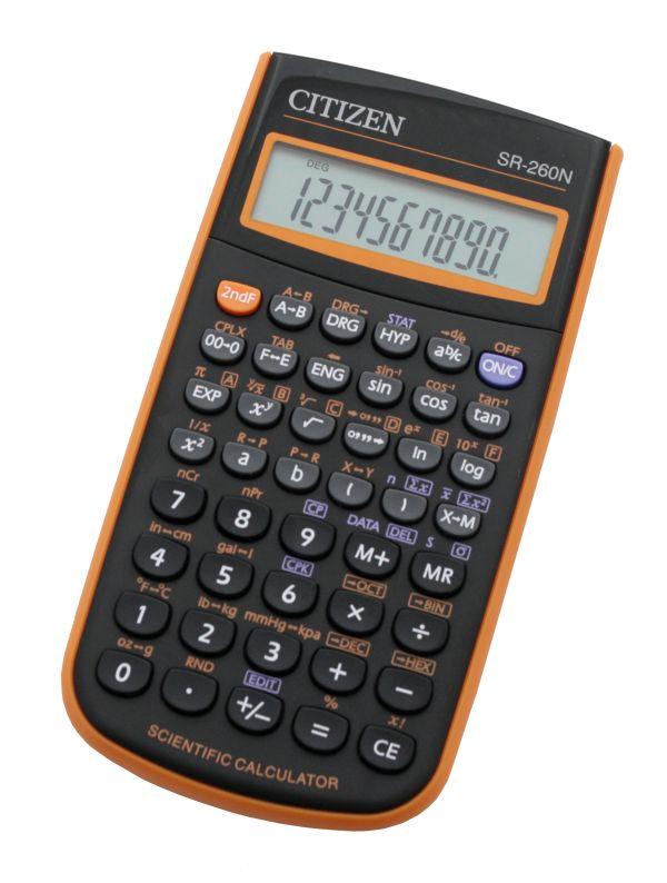 Калькулятор научный 10+2 разр. CITIZEN 78*150*13мм оранж.