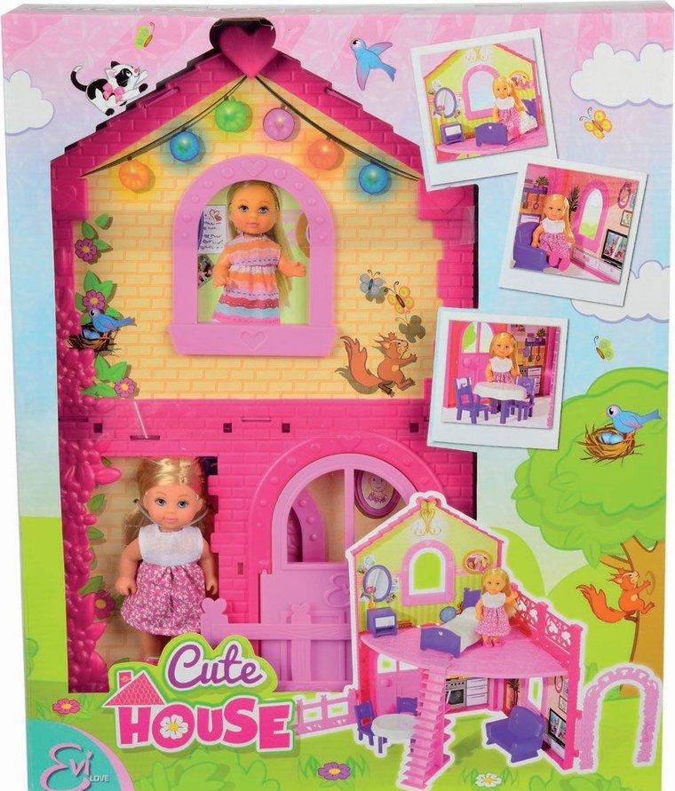 Кукла Еви в двухэтажном доме 12 см