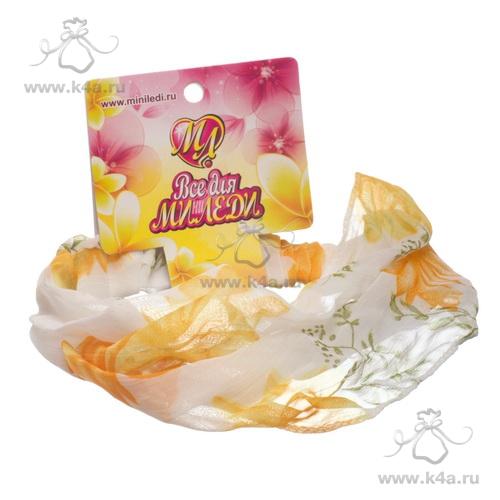 Бандана-повязка для волос шелковая с желтыми цветами