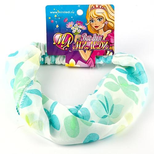 Бандана-повязка для волос шелковая с голубыми цветами