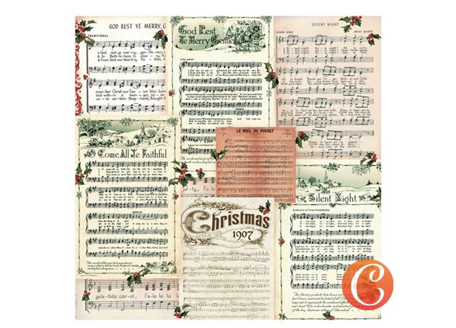 Бумага для скрапбукинга 30,5х29,5см Ноты для Рождества