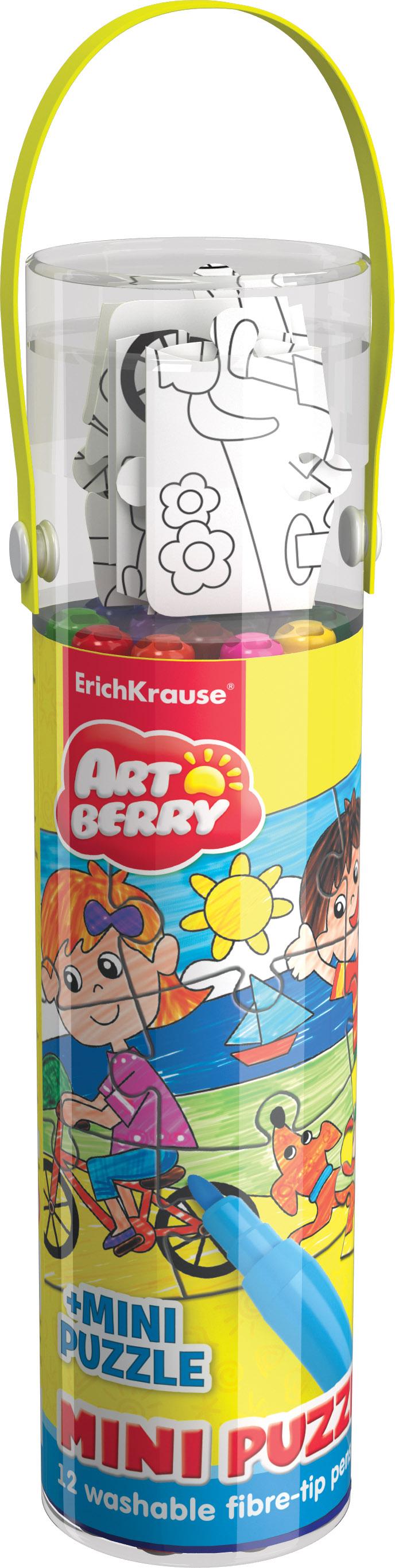 Фломастеры 12 цв EK Artberry + мини пазл (в тубусе)