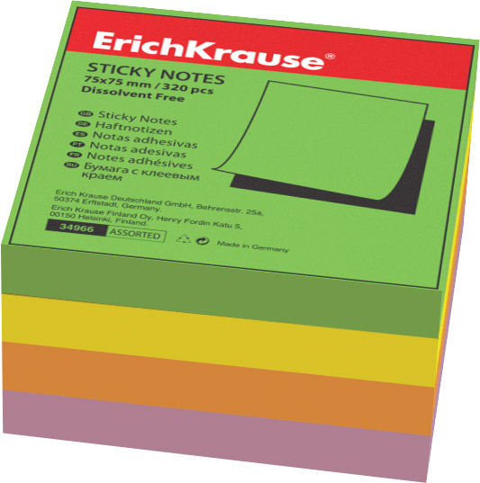 Блок липкий 75*75 320л Erich Krause 4цв