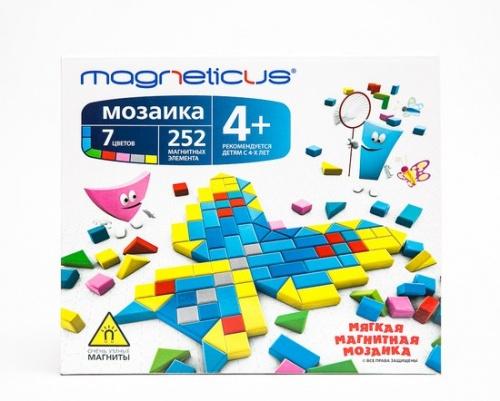 Игра Мозаика магнитная Magneticus 252 эл. 7 цв., 20 этюдов