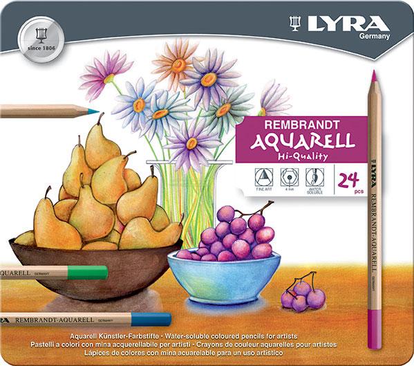 Карандаши цветные 24 цв акварел Lyra Rembrant Aquarell мет. пенал