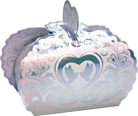 Праз Коробка-Бонбоньерка фольга голуби сердца