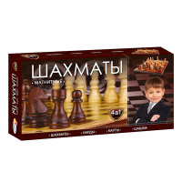 Игра Настольная 4 в 1 Шахматы: Шашки, шахматы, нарды, карты (магнитные)