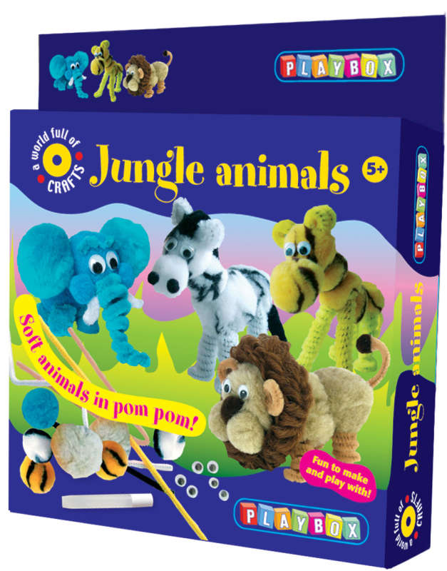 Творч Поделки из помпонов Животные джунглей
