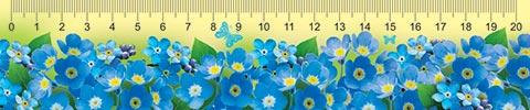 Закладка-линейка Синие цветочки + табл умнож