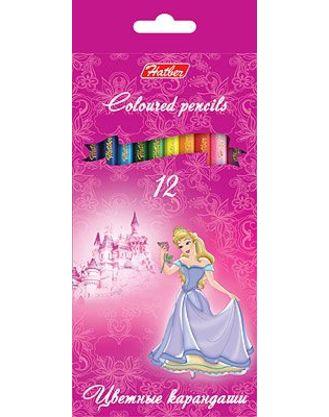 Карандаши цветные 12 цв Hatber Принцесса на розовом