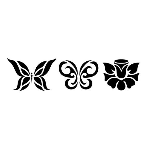 Трафарет 10*25 Бордюр Бабочки и Розы