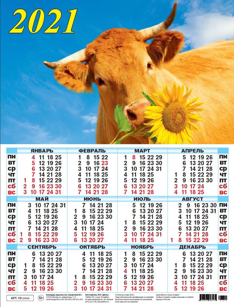 Календарь листовой 2021 10-21010 Символ года. Бычок и подсолух