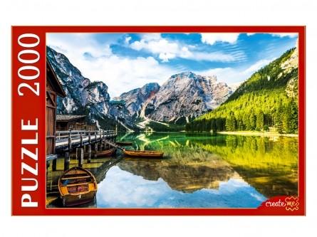 Пазл 2000 Италия. озеро Брайес и лодки