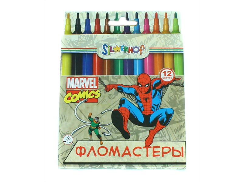 Фломастеры 12 цв Silwerhof Marvel Comics к/к