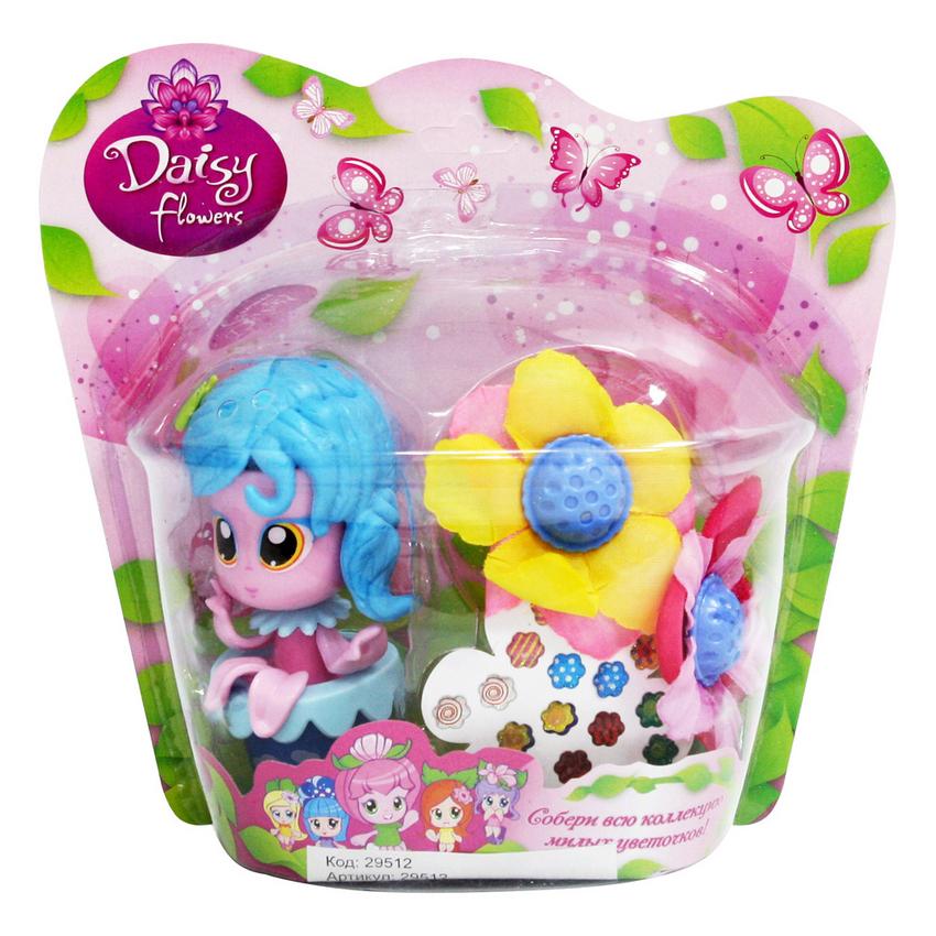 набор Кукла-цветочек Daisy Flowers 9см., с цветком. и наклейкам