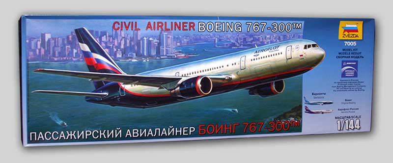 Сборная модель Боинг 767-300 Пассажирский авиалайнер 1/144