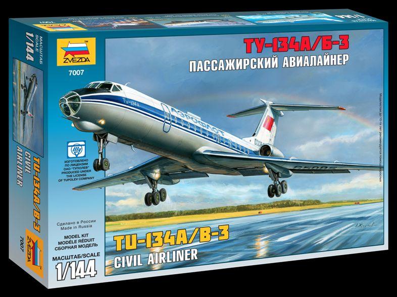 Сборная модель Пассажирский авиалайнер Ту-134 А/Б-3 1/144