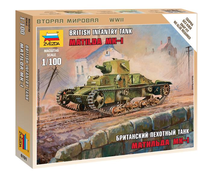 Сборная модель Британский танк Матильда Мк-1 1/100