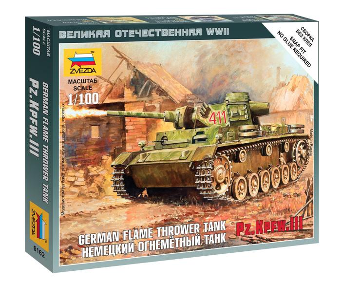 Сборная модель Немецкий огнеметный танк Pz.Kpfw III 1/100