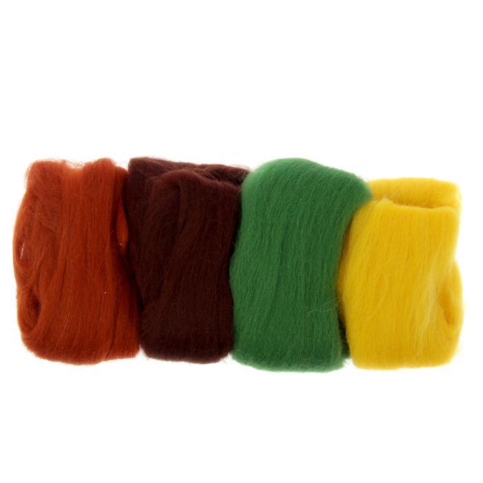 Шерсть д/валяния Ассорти №2 100% мерин. шерсть 4х10 гр (желт,киви, шо