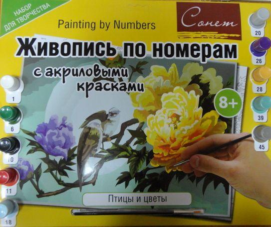 Живопись по номерам акрил Сонет 30х40 Птицы и цветы