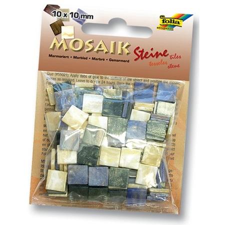 Мозаика 10*10мм Мраморная Оттенки синего 190шт