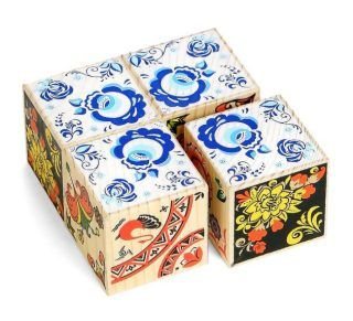 Кубики 4шт деревянные Сложи рисунок: Русские узоры