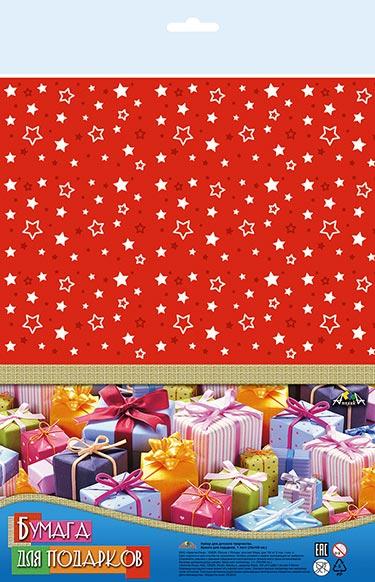 Праз Бумага упак. 70*100 Звезды на красном