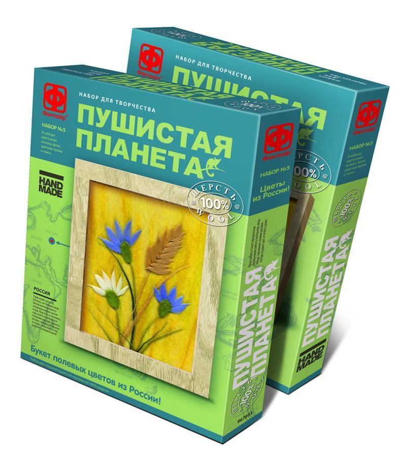 Творч Пушистая планета Букет полевых цветов из России (шерсть)